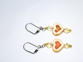 Pale topaz heart earrings with Czech Picasso glass hearts and vintage pale topaz crystals