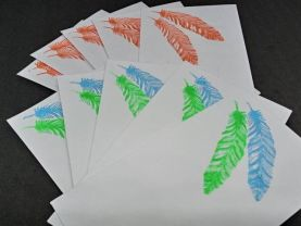 Feathers Ink Stamped Envelopes