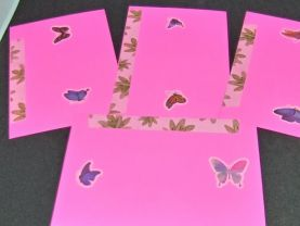 Bright Pink Floral and Butterfly Envelopes Group