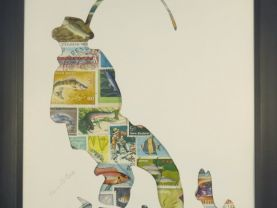 "Vintage Postage Stamp Art - ""Fisherman"""