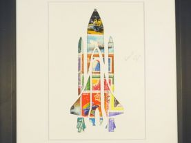 """Vintage Postage Stamp Art - """"Rocket Ship"""""""