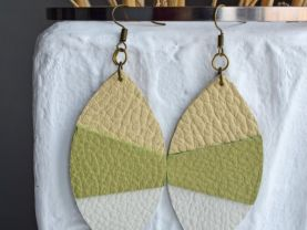Handmade earrings leaves from combination leather