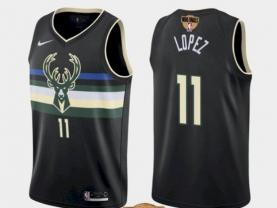 Men's Milwaukee Bucks #11 Brook Lopez Black 2021 Finals Jersey