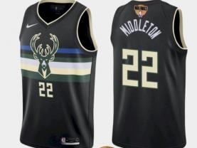 Men's Milwaukee Bucks #22 Khris Middleton Black 2021 Finals Jersey