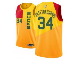 Men's Milwaukee Bucks #34 Giannis Antetokounmpo Yellow Jersey