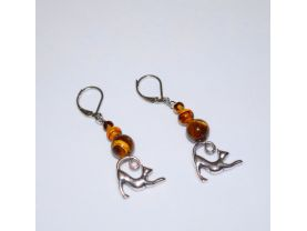 Cat earrings, stretching cat charms with tigers eye beads